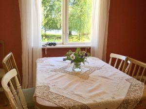 Matsalsbord med utsikt över Tjärnesjön